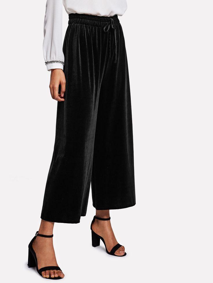 Shop Drawstring Waist Velvet Wide Leg Pants online. SheIn offers Drawstring Waist Velvet Wide Leg Pants & more to fit your fashionable needs.