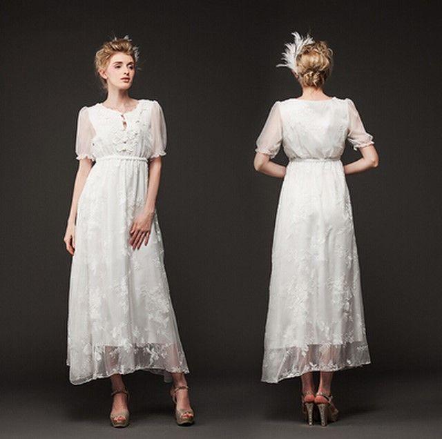 원피스/여름 드레스 2014 새로운 긴 드레스 레이스 흰 드레스 패션 자수 반소매 드레스 summer dress 2014  new long dresses lace white dre