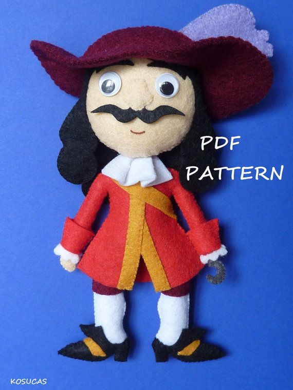 PDF sewing pattern to make a felt Captain Hook, 7.4 inches tall (19 cm). It is not a finished doll. Includes tutorial with pictures and step by step explanation. For hand sewing. Difficulty: not for beginners. Instructions in Spanish-English. Things to do with this pattern can be sold in your own shop. Mass production, re-sale and distribution of pattern pieces and instructions is Expressly prohibited. Dolls made from this pattern are not suitable for children under 3. Instant download. If…