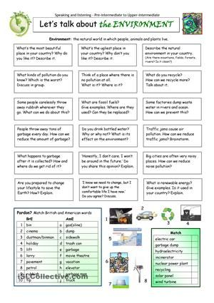 This worksheet contains 18 conversation cards, a matching exercise with pictures and a matching exercise with British and American English. The cards can be cut out if desired and be used as conversation questions. Can be used with both young learners and adults (elementary to intermediate). - ESL worksheets