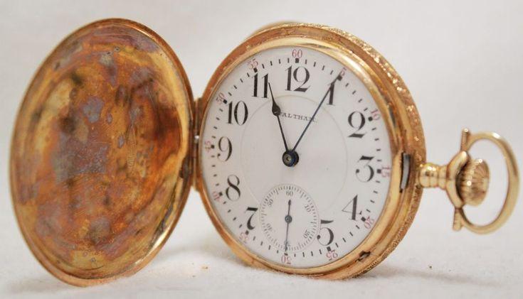 1913 Waltham 16s Crescent St 14K Gold Pocket Watch Pocketwatch Engraved Case 21J #Waltham #antique #pocket #watch #gift #idea