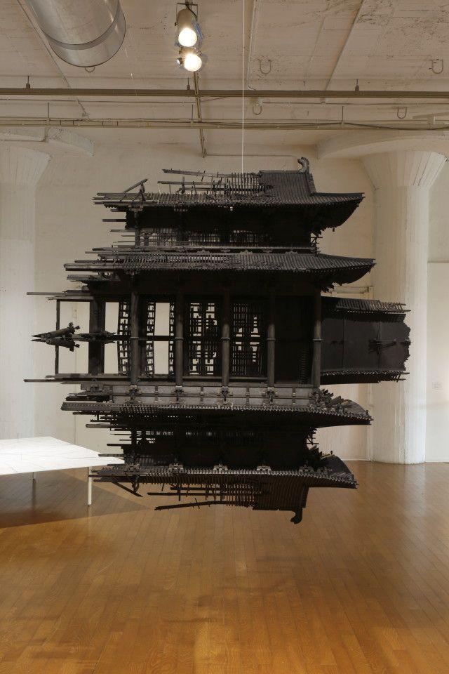 Takahiro Iwasaki, 'Reflection Model (Rashomon effect)', 2015, Japanese cypress, plywood, Chinese ink, wire, 1800 × 1850 × 900 mm. Installation view at Nissan Art Award 2015 Exhibition. Photo: Keizo Kioku. Image courtesy Nissan Art Award.
