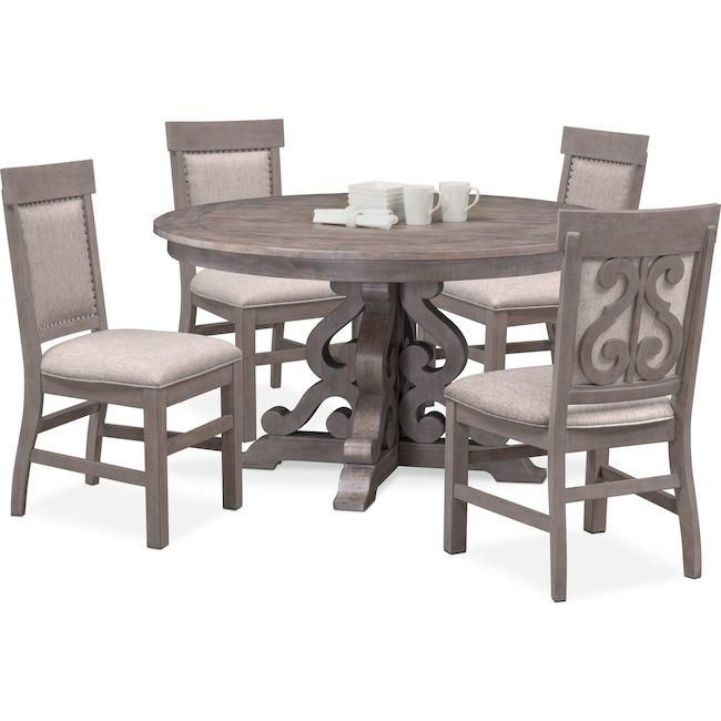 Charthouse Round Dining Table And 4 Upholstered Side Chairs American Signature Furniture Round Dining Table Grey Dining Room Grey Upholstered Dining Chairs