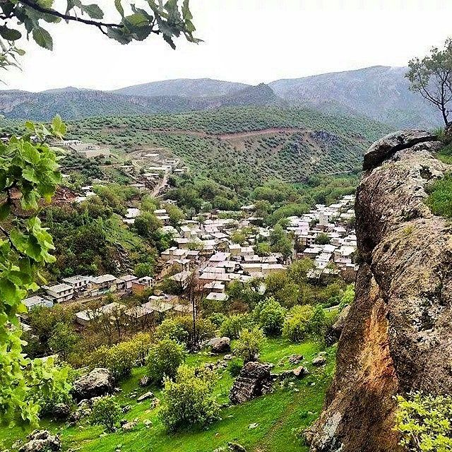 The beautiful Kurdish Village of Quri Qaleh near Paveh City in the Province Kirmaşan, Iran. This Village is named after a nearby Sassanid castle, which the Kurdish inhabitants of the region called 'Goura Ghaleh' - meaning the 'big castle'. The same named famous Cave is located ‎in close proximity of the village.