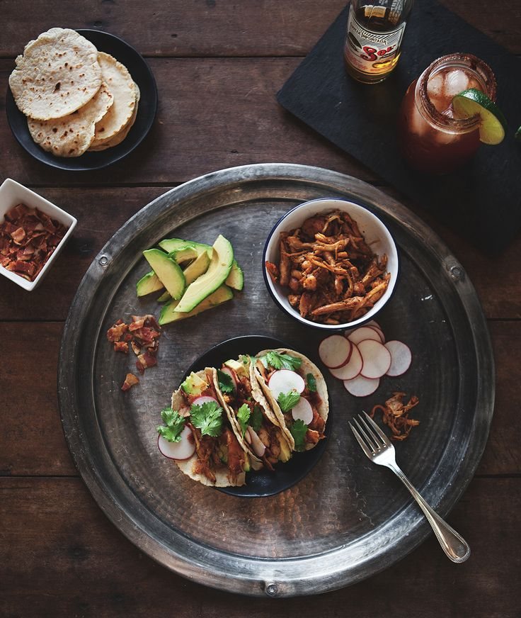 Ancho Chile Pulled Chicken Tacos in Homemade Corn Tortillas + a Spicy Michelada