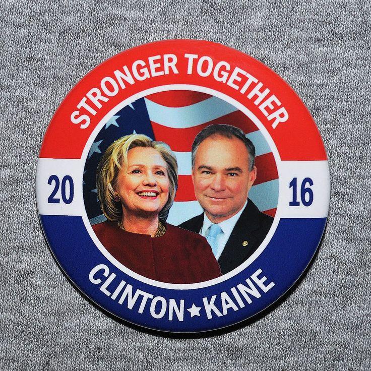 Hillary Clinton for President 2016 Clinton Kaine VP Photo Button Pin