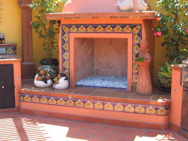Outdoors Fireplace Decorated Using Mexican Tile, Mexican Home Decor  Gallery. Mission Accesories, Copper