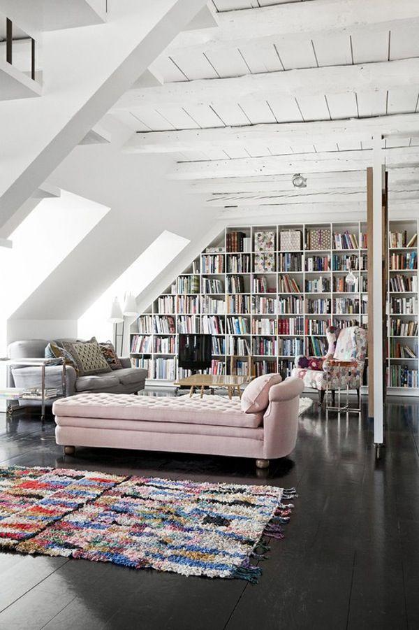bookshelf wall & pretty chaise lounge
