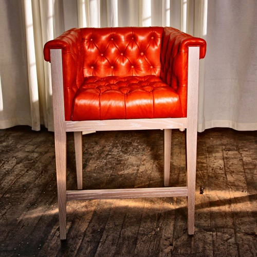 Chesterfield with wood frameDesign Barstools, S'More Bar, Orange You Glad, S'Mores Bar, Chairs, Chesterfield, Bar Stools, Furniture, Wood Frames