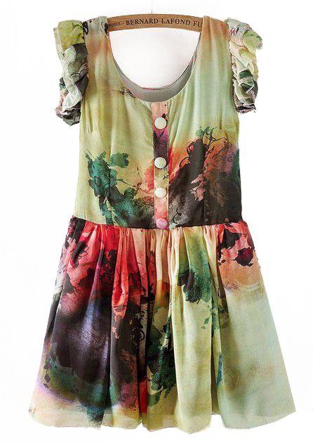 Green Ruffles Sleeve Ink Painting Print Flare Dress