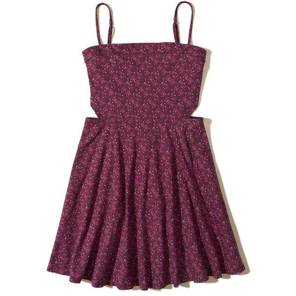 Hollister Cutout Knit Skater Dress ($40) ❤ liked on Polyvore featuring dresses, hollister, purple pattern, circle skirt, cami dress, print dresses, purple cami and purple skater dress