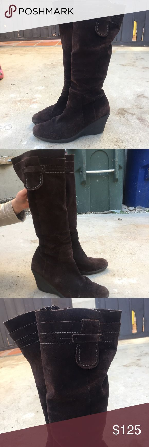 Charles David Brown Knee Boots with wedges Adorable Charles David knee boots with wedges. Worn a few times as seen in pictures. Good condition. Size 39. Charles David Shoes Heeled Boots