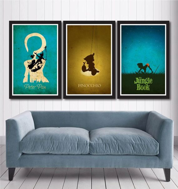 Vintage Disney Poster Set include:    1 Peter pan Poster  1 Pinocchio Poster  1 Jungle Book Poster    Poster size: 11 inches x 17 inches    -