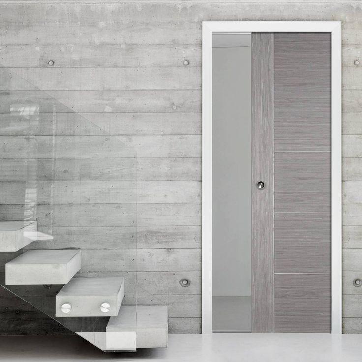 Single Pocket Light Grey Vancouver Door - Prefinished. #slidingdoor #pocketdoor #internaldoor
