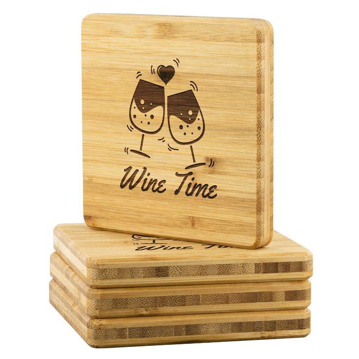 Wine Time Bamboo Drink Coaster   Wedding Gift