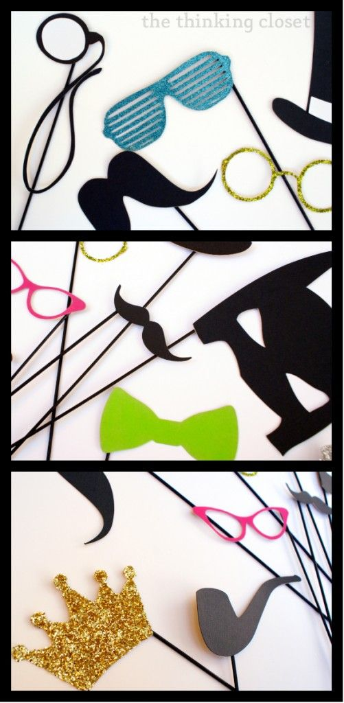 DIY Photo Booth Props - made with your Silhouette via thinkingcloset.com