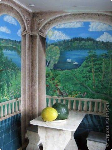 Интерьер Роспись: Роспись стен в кухне Краска. Фото 1