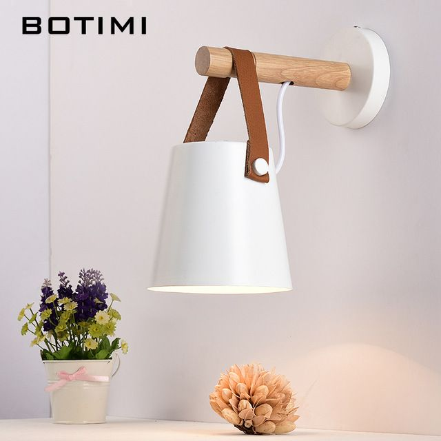 Botimi Nordic Wood Wall Lamps Modern Wall Mounted Luminaire Iron Wall Sconce For Bedside Light Bedroom Lighting Fixtures Wood Wall Lamps Wall Lamp Wall Lights