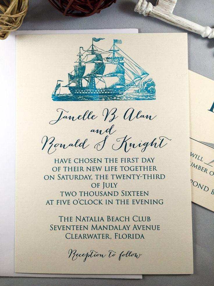 Nautical Wedding Invitations Wedding Stationery Pirate Ships