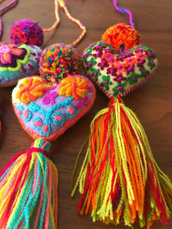 Pack of 2 hand embroidered 7 felted hearts pompom