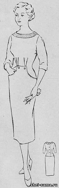 Платье полуприлегающее, отрезное ниже линии талии, с карманами