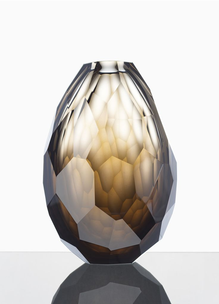 Glass, faceted vase