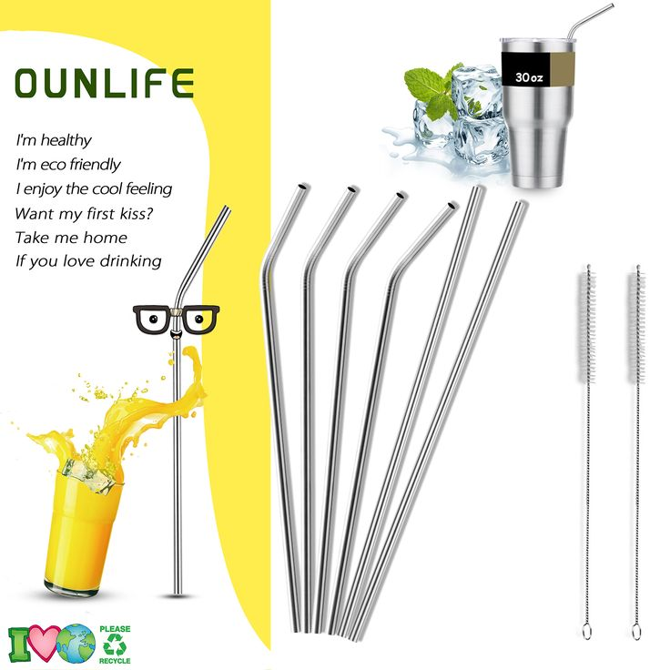 OUNLIFE Stainless Steel Straws #Product #straws #drink #fruit #summer #kitchen #home #tips #diy