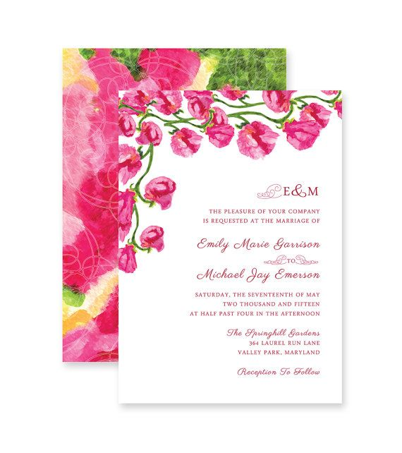 25 Sweet Pea Fl Strawberry Pink Wedding Invitation Printable Print On Your Own