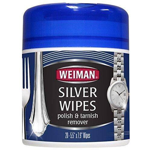 Weiman Silver Wipes for Cleaning and Polishing Silver Jewelry Sterling Silver Silver Plate and Fine Antique Silver - 20 count