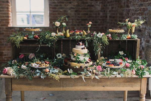 botanical cake tables - photo by Paula O'Hara http://ruffledblog.com/irish-destination-wedding-inspiration