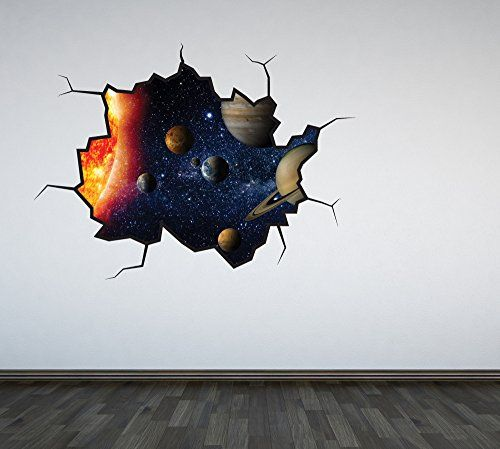 Full Colour Solar System Cracked Wall Sticker Decal Boys ...