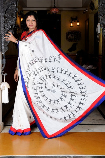 Assam silk saree with hand painted Tribal Warli design on the pallu.     Rs. 5600