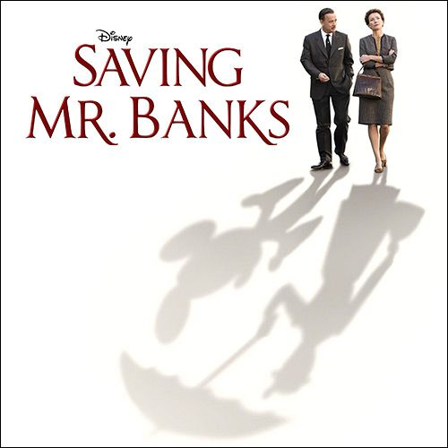 Saving Mr Banks - Tom Hanks and Emma Thompson walking with their shadows in the shape of mickey mouse and mary poppins