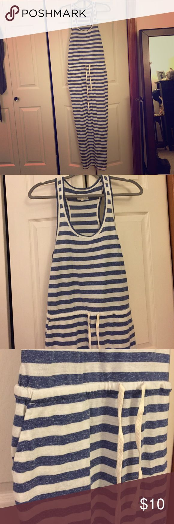 Striped maxi dress Blue and white stripes maxi. Draw string at waste. Pockets. Previously worn. Some pilling. VERY comfy. 🚫No trades Dresses Maxi