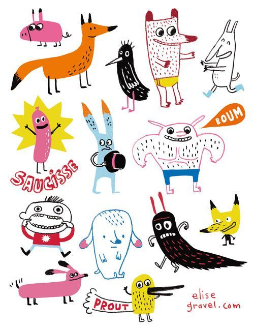 Elise Gravel Illustration • Cute monsters • Character design • art • drawing • children • funny: