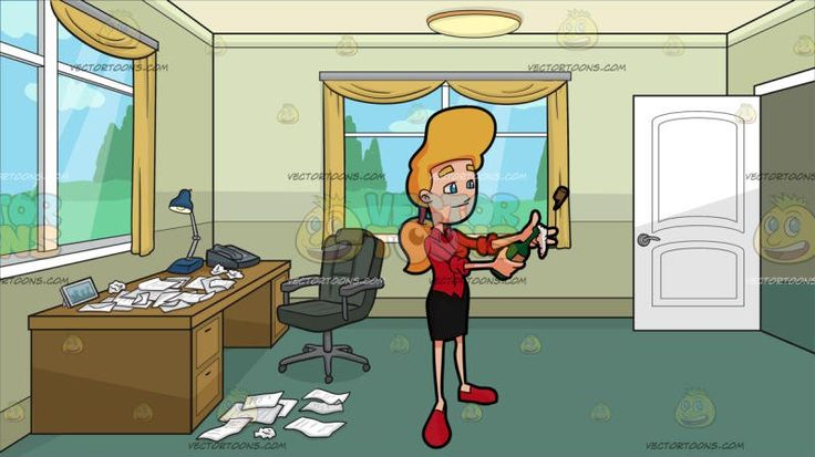 A Woman Popping A Champagne Cork At A Home Office Full Of Crumpled Papers :  A blonde female with long ponytailed hair blue eyes wearing a red collared blouse with folded sleeves black pencil skirt and red flats pops a bottle of champagne which she is holding on her right hand white bubble coming out the lid of the bottle brown cork flying thrown up in the air because of pressure. Set in an home office den with pale olive green walls grayish green floor glass windows with white panels and…