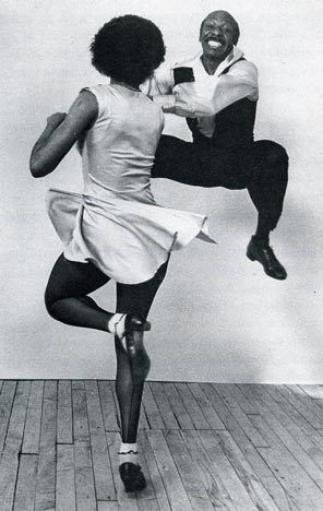 Chazz Young, (Frankie Manning's son), and Debbie Williams, dancing Lindy Hop in 1984.  Photo; courtesy of CENTURY BALLROOM