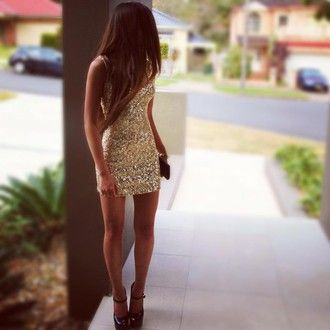 dress shiny short dress gold glitter dress t-shirt homecoming dress prom girl…