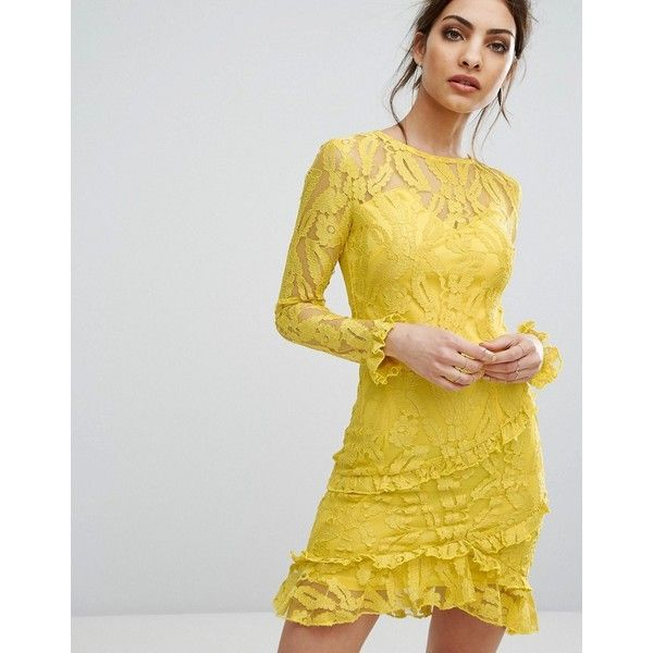 PrettyLittleThing Lace Asymmetric Frill Detail Bodycon Dress ($51) ❤ liked on Polyvore featuring dresses, yellow, going out dresses, yellow party dress, cocktail party dress, lace bodycon dress and bodycon dress