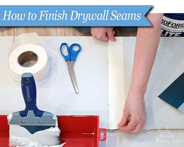 Great tutorial with a video from @Brittany (aka Pretty Handy Girl) on how to tape and mud drywall seams.