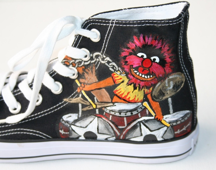 CONVERSE Adult Custom Painted Muppets ANIMAL DRUMMER by paintmama, $135.00
