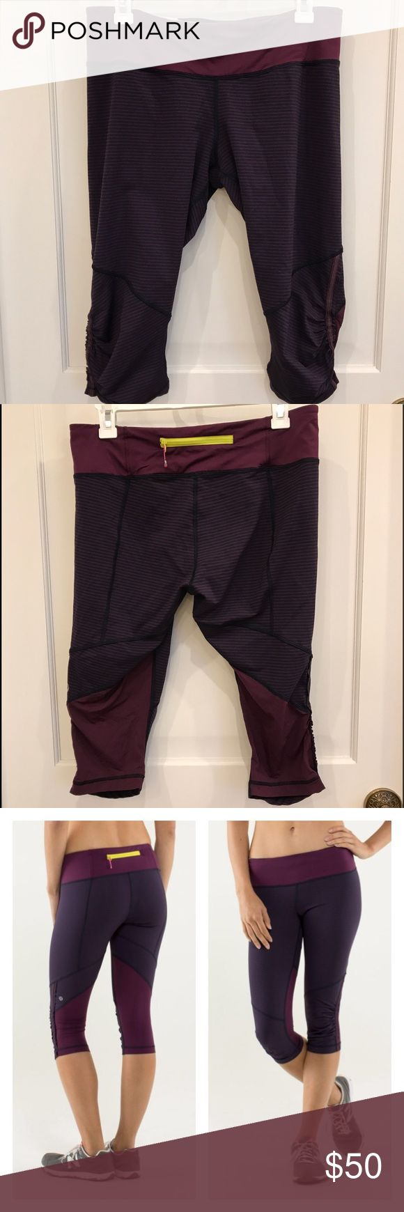 Lululemon. Run For Your Life Crops Lululemon: Run For Your Life crops. Beautiful plum and navy hyper-stripe.  MiNiMaL signs of use. No pilling no fading-- look new. * first photo is a stock photo. lululemon athletica Pants Track Pants & Joggers