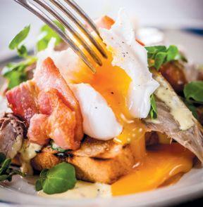 Smoked mackerel, bacon and duck egg.