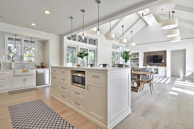 White Cabinetry + Cathedral Ceiling in Family Room