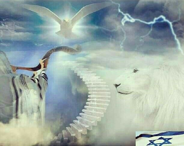 White Lion of Judah, Holy Spirit Dove, stairs to heaven ...
