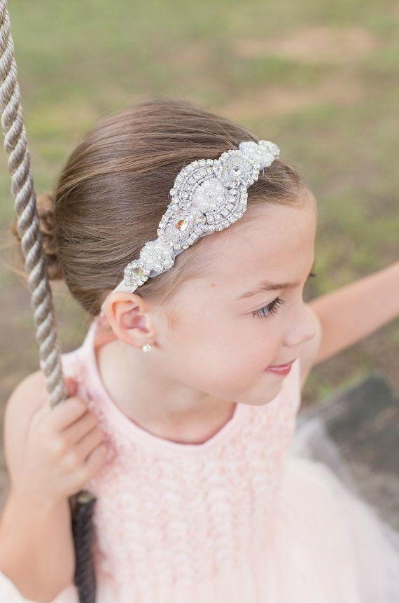 Flower Girl Headband Rhinestone Headband Bridal by Pizzazzies