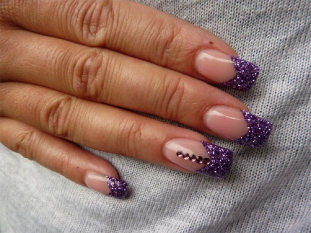 Color french gel nail, Color french manicure, Evening nails, Festive French nails, French manicure ideas 2016, Glitter nails, nails under violet dress, Nails with rhinestones