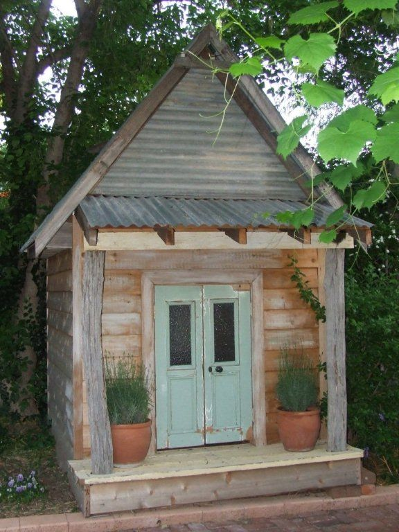 Amazing Rustic Cubby House Hand Made Using Authentic Old Telegraph Poles, French Doors,sashwindow And Old Corro Roof.