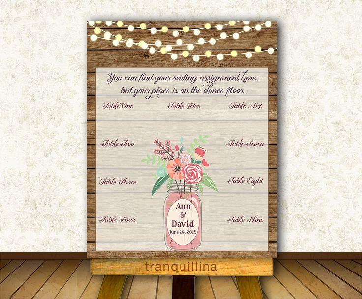 Wedding Seating Chart Printable, Digital File - Custom Rustic Wedding Sign - Rustic Seating Chart - Guest list - pinned by pin4etsy.com