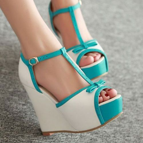 Women's Summer Wedge High Heels Shoes Platform Peep Toes Ankle T Strap Sandals | eBay #heels #sandals
